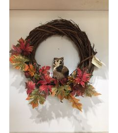 Fall Wreath with Racoon