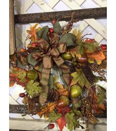 Fall Wreath with Acorns and Bow