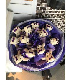 Purple Teddy Bears Bouquet