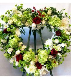 Winter Green Heart Wreath
