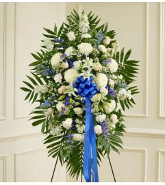 Blue and White Standing Spray