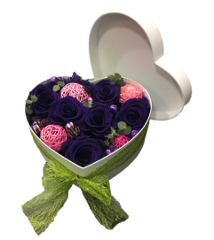 Preserved Rose Heart Box - Giant purple head