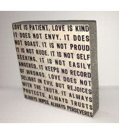 Love is Patient, Love is Kind Block Art