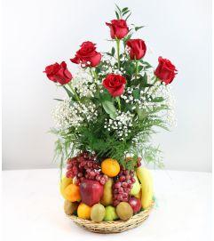 Fresh Fruit with Roses Basket