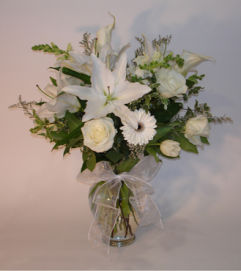Large All White Mixed Vase