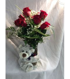 Cuddly Big Bear Hug Vase
