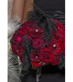 Red Rose and Feather Bouquet