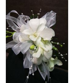 Graceful White  Orchid Corsage pick up only
