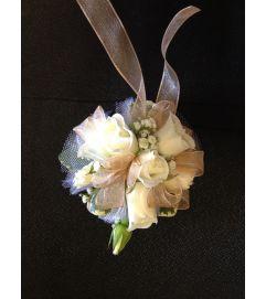 white mini rose corsage
