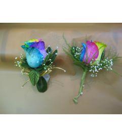 Rainbow Rose Corsage