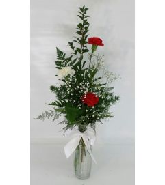 Red and White Carnation Vase