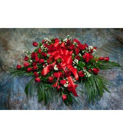 Rose & Carnation Casket Cover