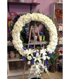 peaceful white and blue wreath