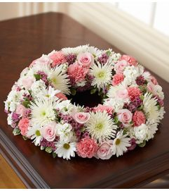 Cremation Wreath - Pink and White