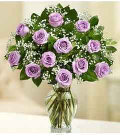 Rose Elegance - Dozen Purple Roses