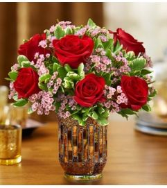 Roses in a Mosaic Vase - Red