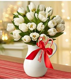 Peppermint Pitcher of Tulips™ - White