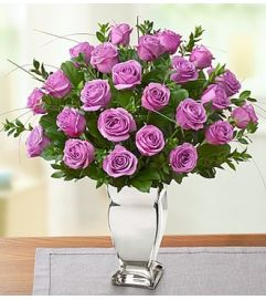 Premium Purple Roses in Silver Vase