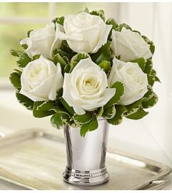 Julep Cup Rose Arrangement - White