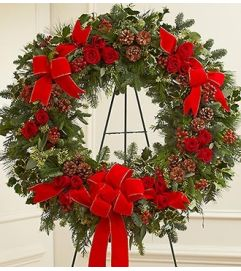 Sympathy Standing Wreath in Christmas Colors