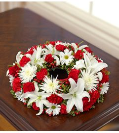 Cremation Wreath - Red and White