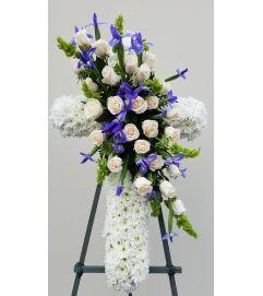 White Cross with Blue Irises