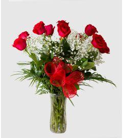 One Dozen Roses with Vase