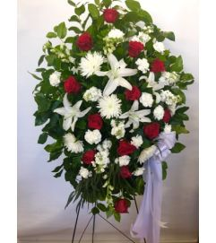 Red Roses And White Flowers Standing Spray
