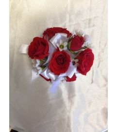 red mini rose corsage