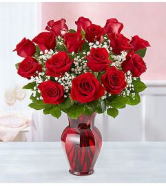 Blooming Love™ Red Roses in Red Vase