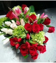 Lovely Red Roses and Tulips