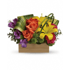 Send her a rainbow! Golden lilies, radiant roses and regal al