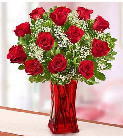 One Dozen Red Roses in Red Vase