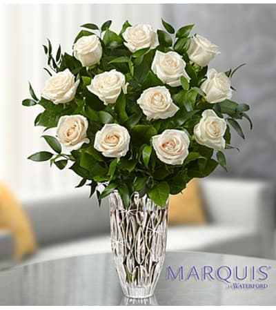 One Dozen White Roses in Marquis Waterford® Vase