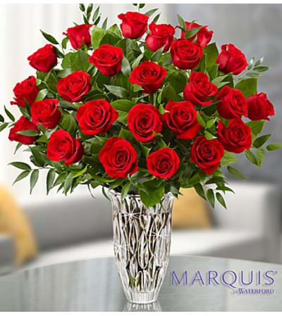 Two Dozen Red Roses in Marquis by Waterford® Vase