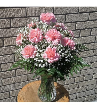 Classic Dozen Carnation Vase - Available In Other Colors