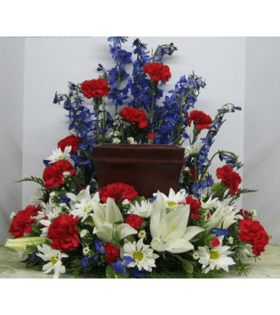 Patriotic Boxed Cremation Urn Wreath