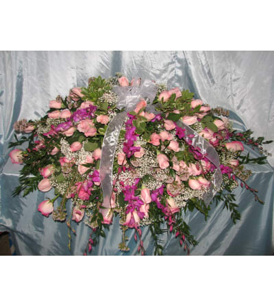 Pink Rose Casket Cover