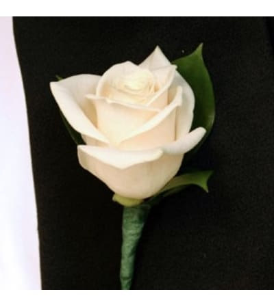 white rose boutonniere for lapel - Garden Rose Boutonniere