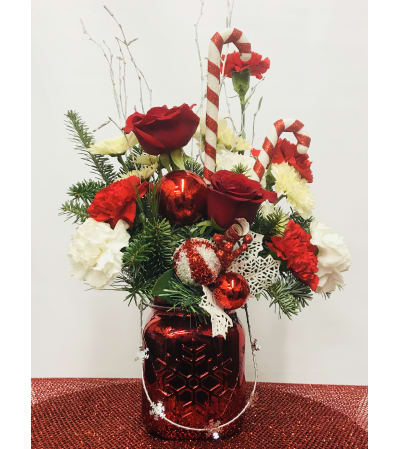 Candy-Cane Holiday Arrangement