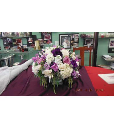 purple, lavender and white low arrangement