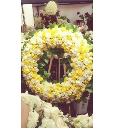 all white and yellow rose wreath