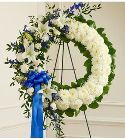 Blue and White Open Wreath