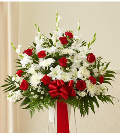 Red and White Standing Basket