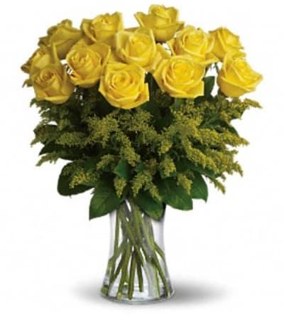 One dozen yellow roses arranged