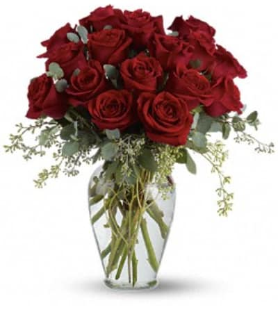 16 red roses arranged
