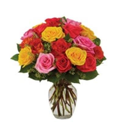 Assorted roses arranged in vase