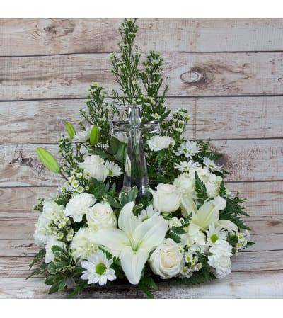 Crystal Cross Tabletop Wreath