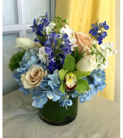 Blue Centerpiece with Orchid