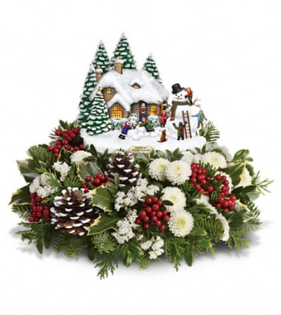 Thomas Kinkade's Snowballs & Smiles Centerpiece